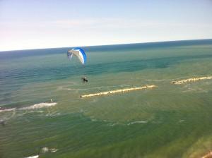 Vrij vliegen over de zee.